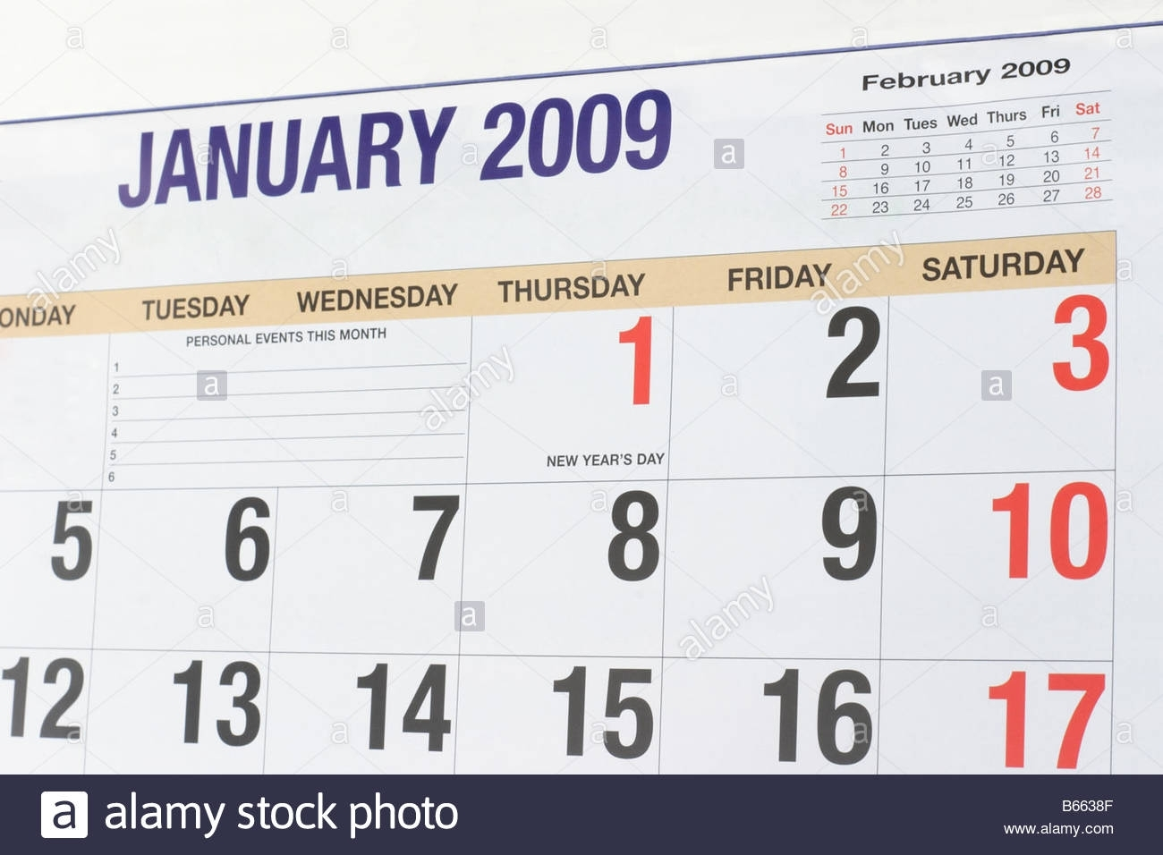 Calendar 2009 Showing Month Of January Stock Photo: 21032607