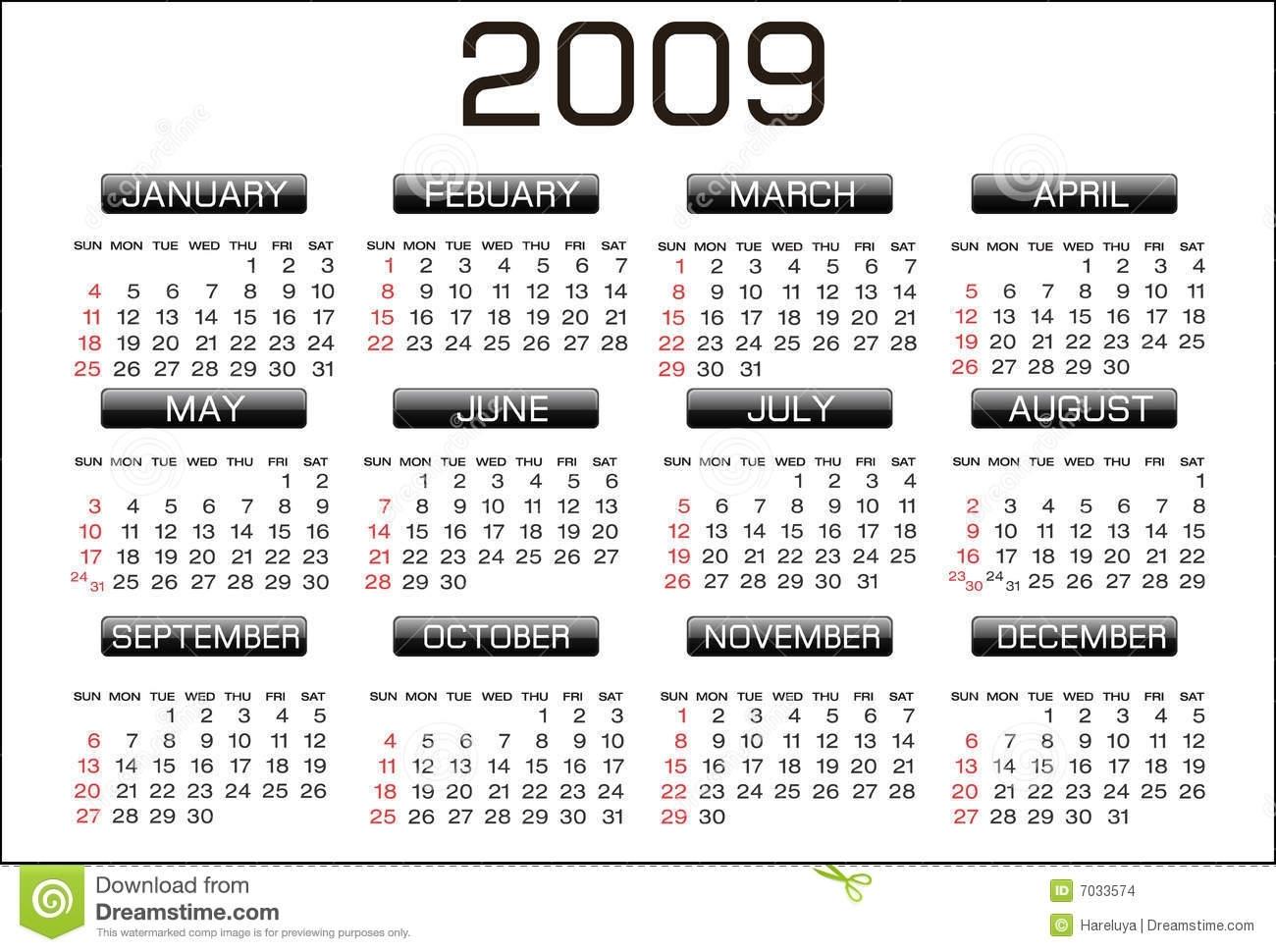 Calendar 2009 Stock Illustration. Illustration Of Rectangle