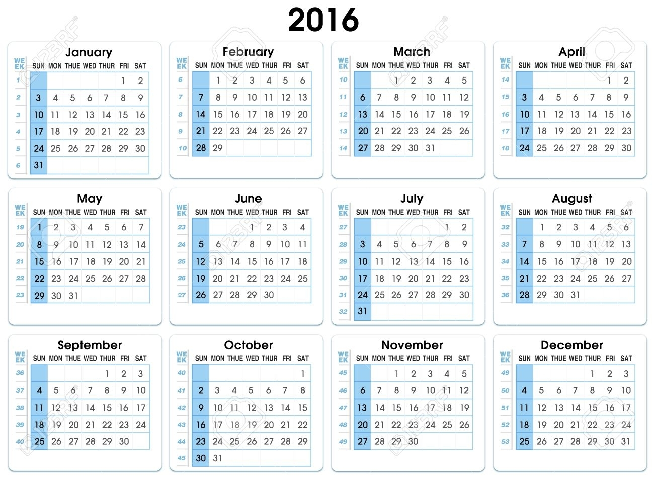 Calendar 2016. 12 Months, Indicating Number Weeks 2016 Calendar..