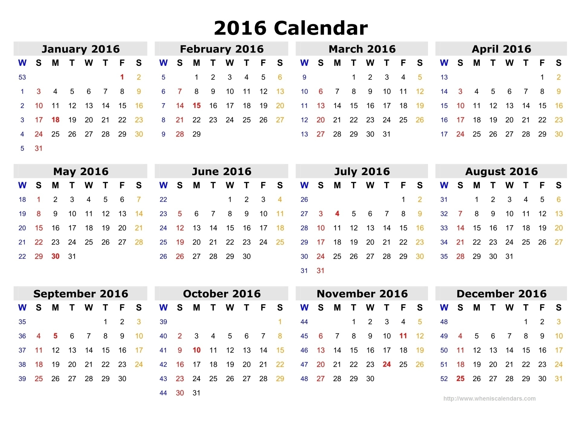 Calendar 2016 12 Months, Indicating Number Weeks 2016