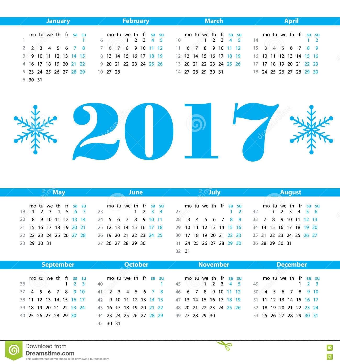 Calendar 2017 Year Vector Design Template With Week Numbers