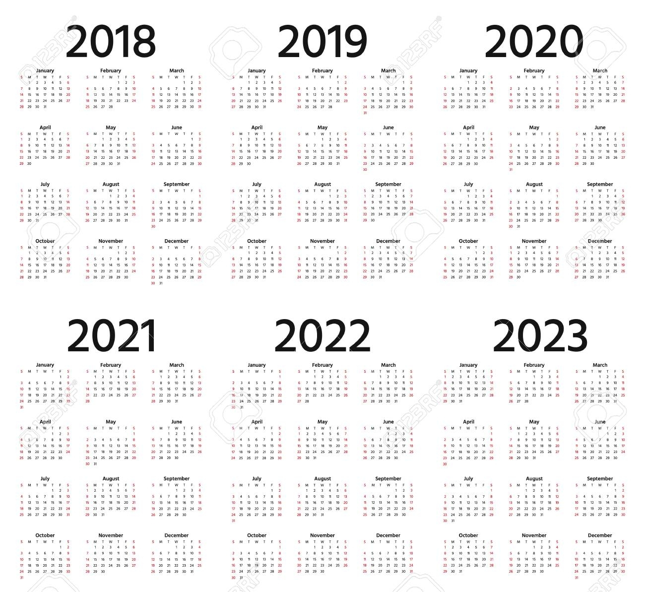 Calendar 2018, 2019, 2020, 2021, 2022, 2023 Year. Week Starts..