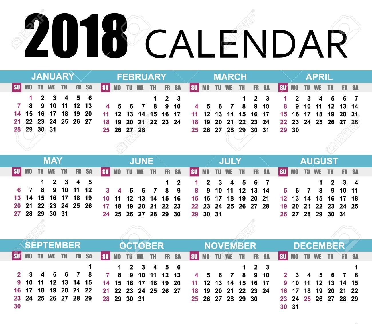 Calendar 2018 Template Vector Illustration With A Week Starts..