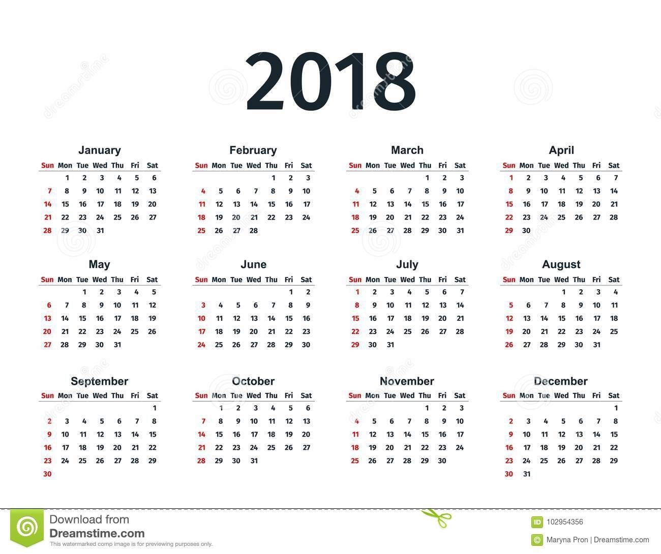 Calendar 2018 Year. Vector Template Planner. Stock Vector