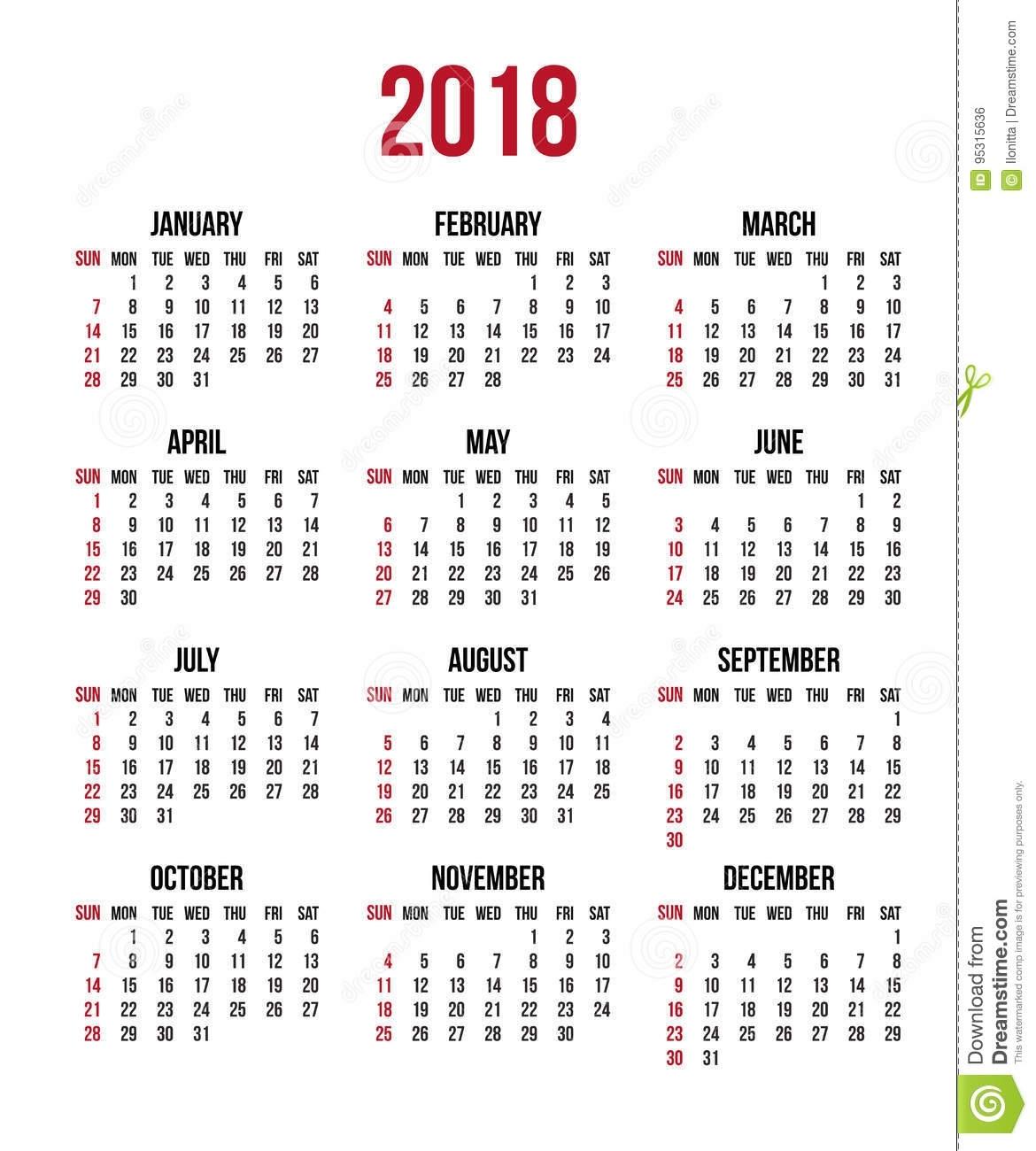 Calendar 2018 Year. Week Starts Sunday, Us. Vector Clear Or