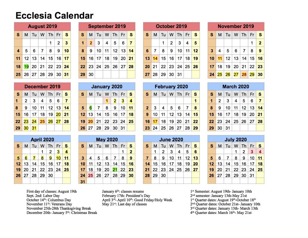 Calendar 2019-20 - Ecclesia Classes