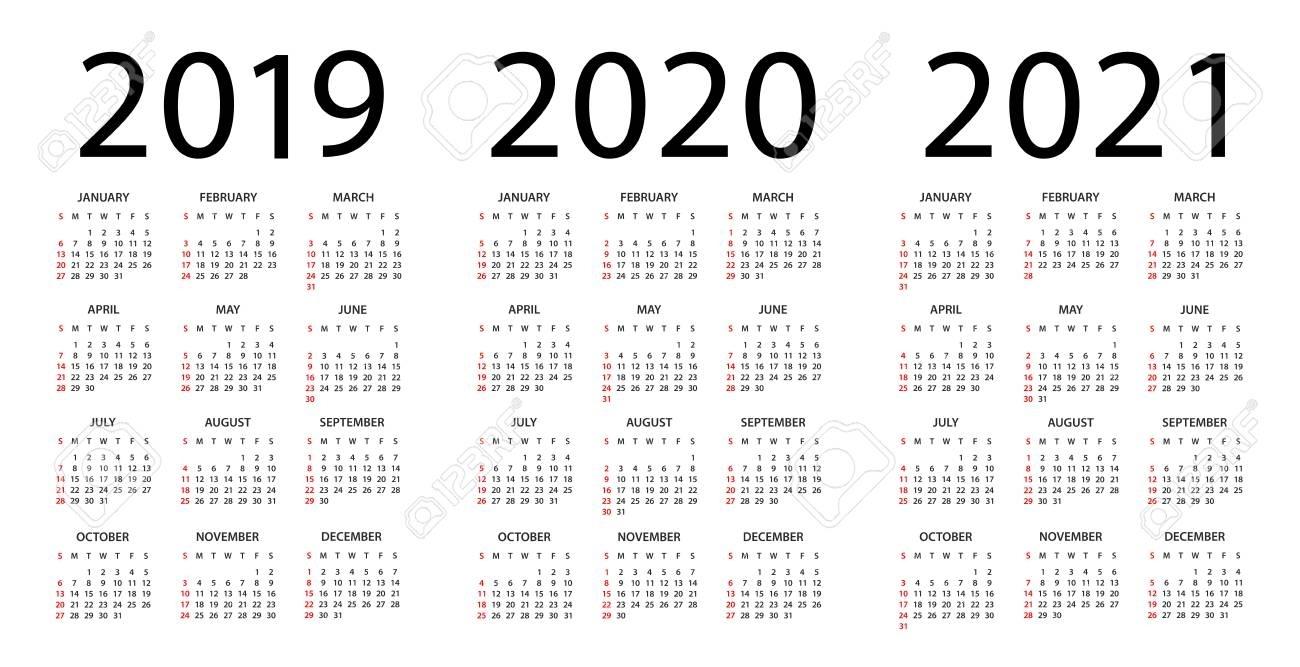 Calendar 2019 2020 2021 Year - Vector Illustration. Week Starts..