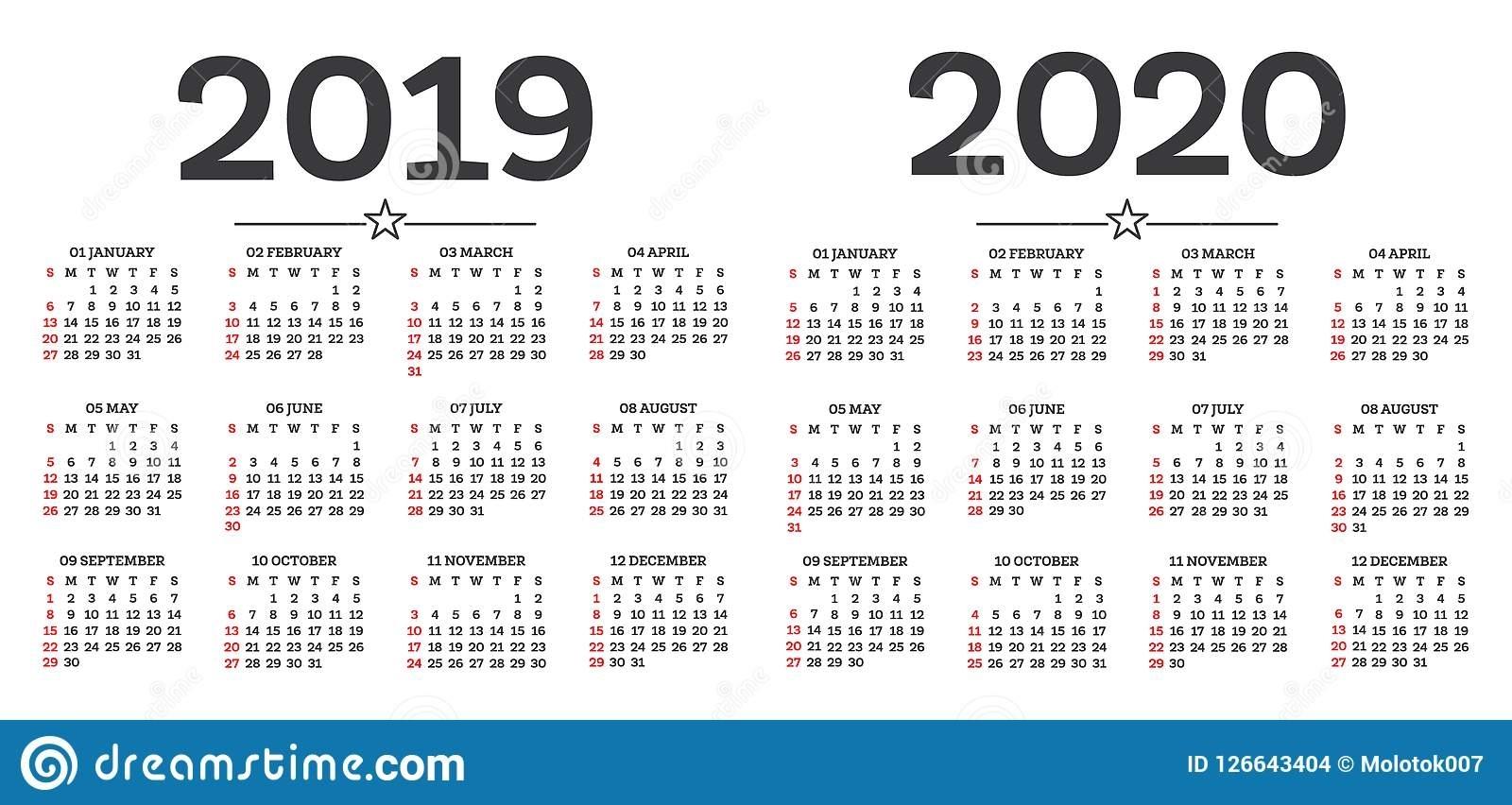 Calendar 2019 2020 Isolated On White Background. Week Starts