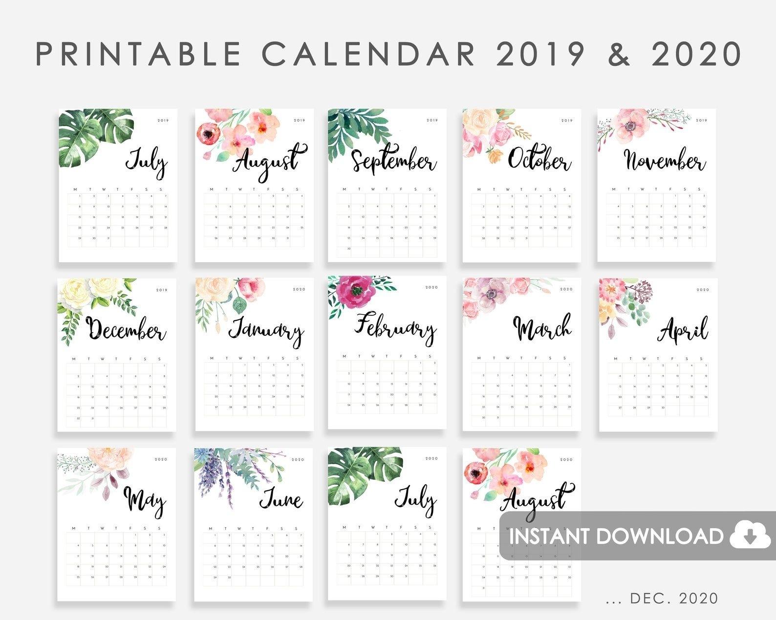 Calendar 2019-2020 Printable, Calendar Watercolor Flowers