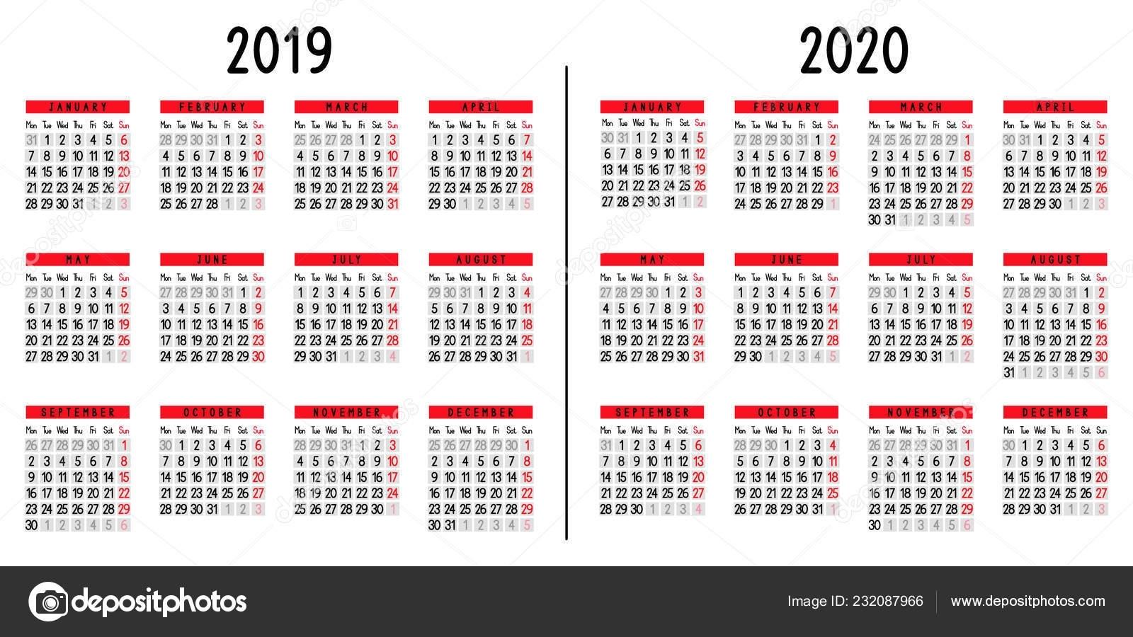 Calendar 2019 2020 Week Starts Monday Vector Illustration