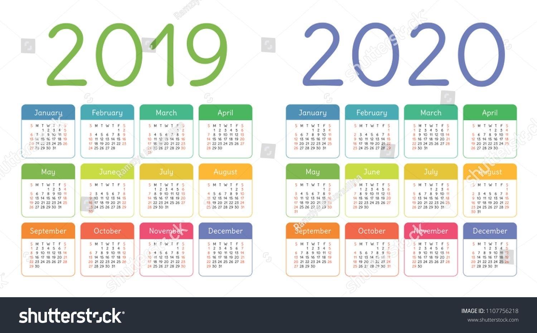 Calendar 2019, 2020 Years. Colorful Calender Set. Week