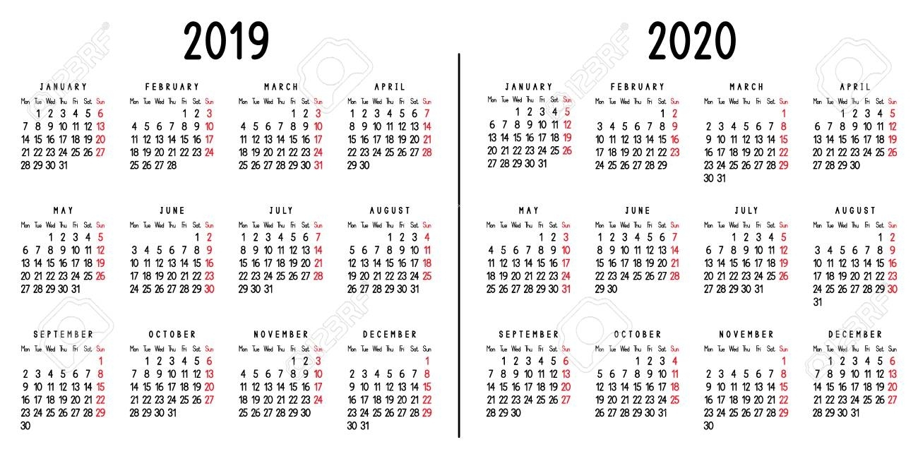 Calendar 2019 And 2020. Week Starts From Monday. Vector Illustration.