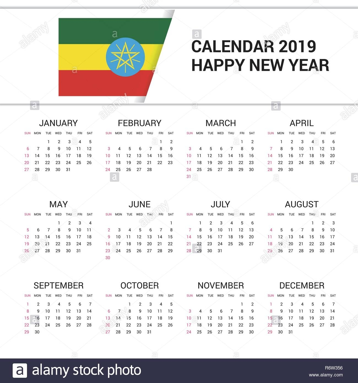 Calendar 2019 Ethiopia Flag Background. English Language