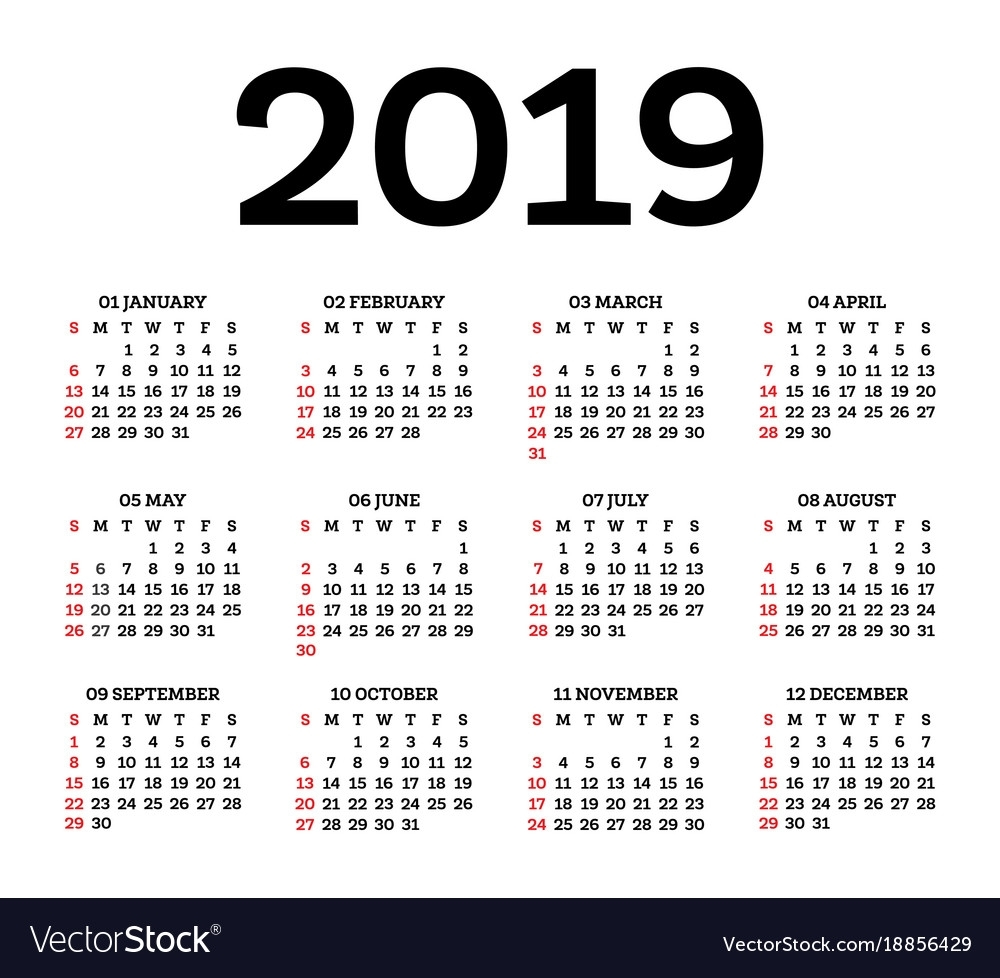 Calendar 2019 Isolated On White Background Week