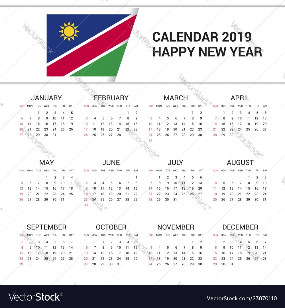 Calendar 2019 Namibia Flag Background English