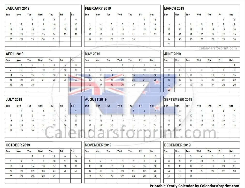 Calendar 2019 New Zealand | Calendar, New Zealand, Yearly
