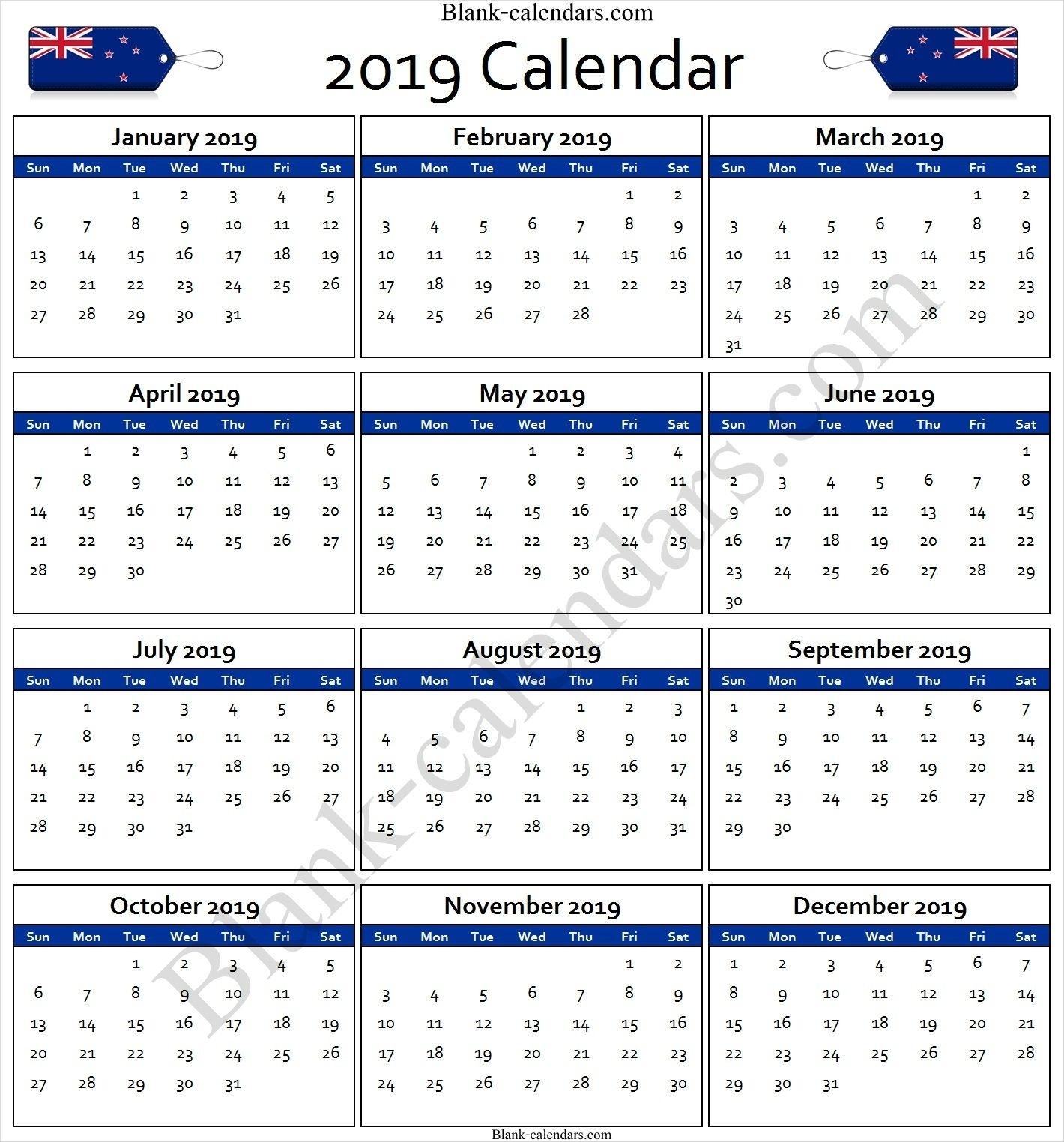 Calendar 2019 New Zealand | Calendar, Print Calendar