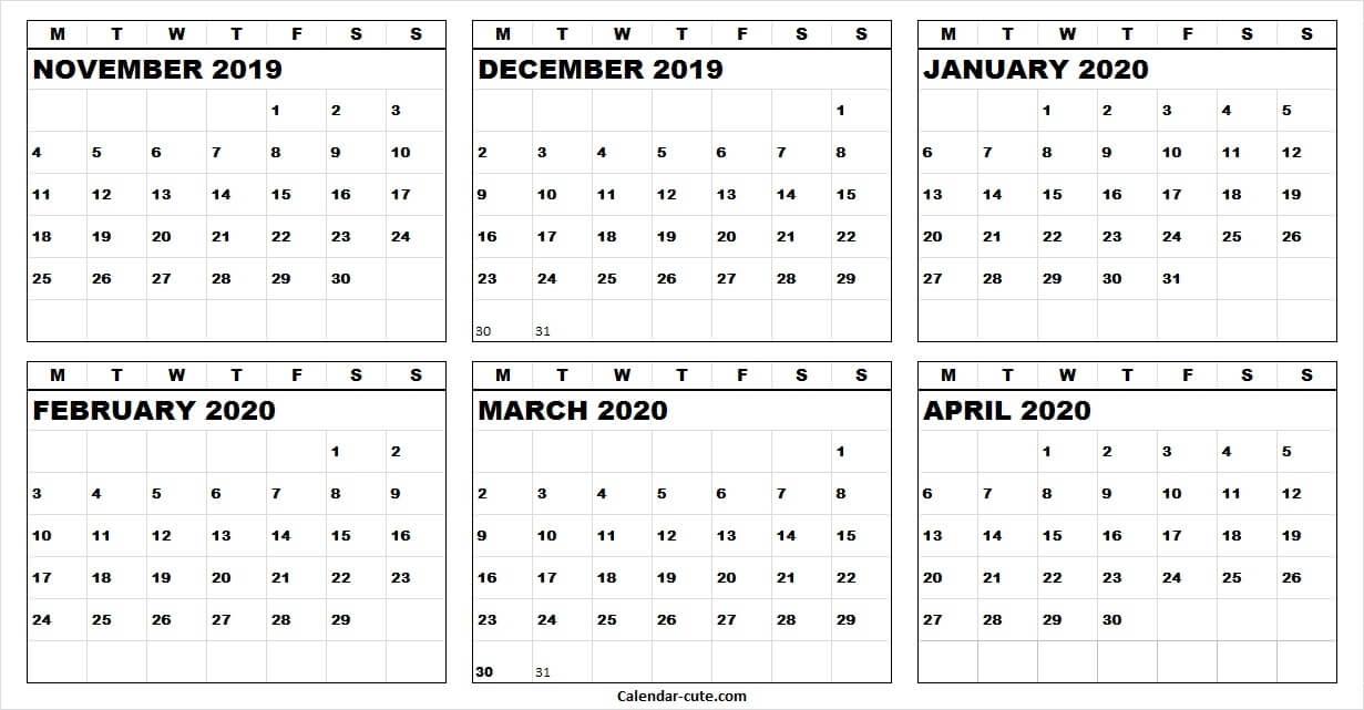 Calendar 2019 November December 2020 January February March