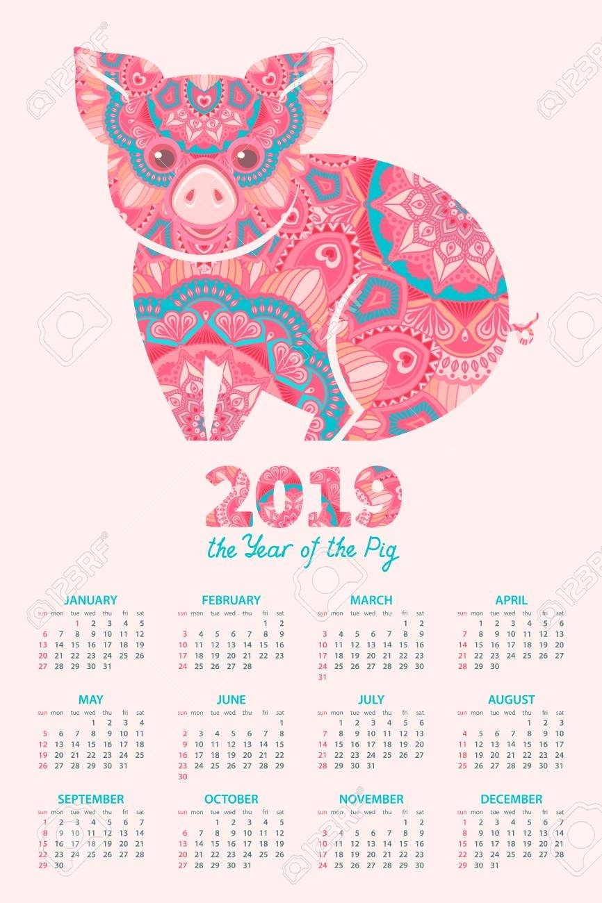 Calendar 2019. Pig Is A Symbol Of The 2019 Chinese New Year