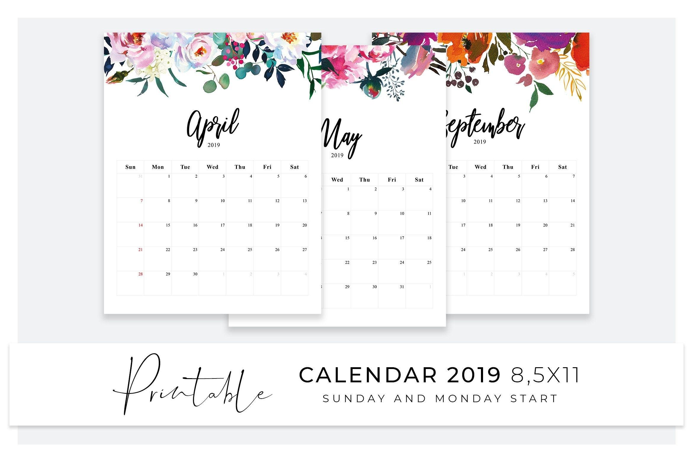 Calendar 2019 | Printable Desk Calendar | Sunday Start