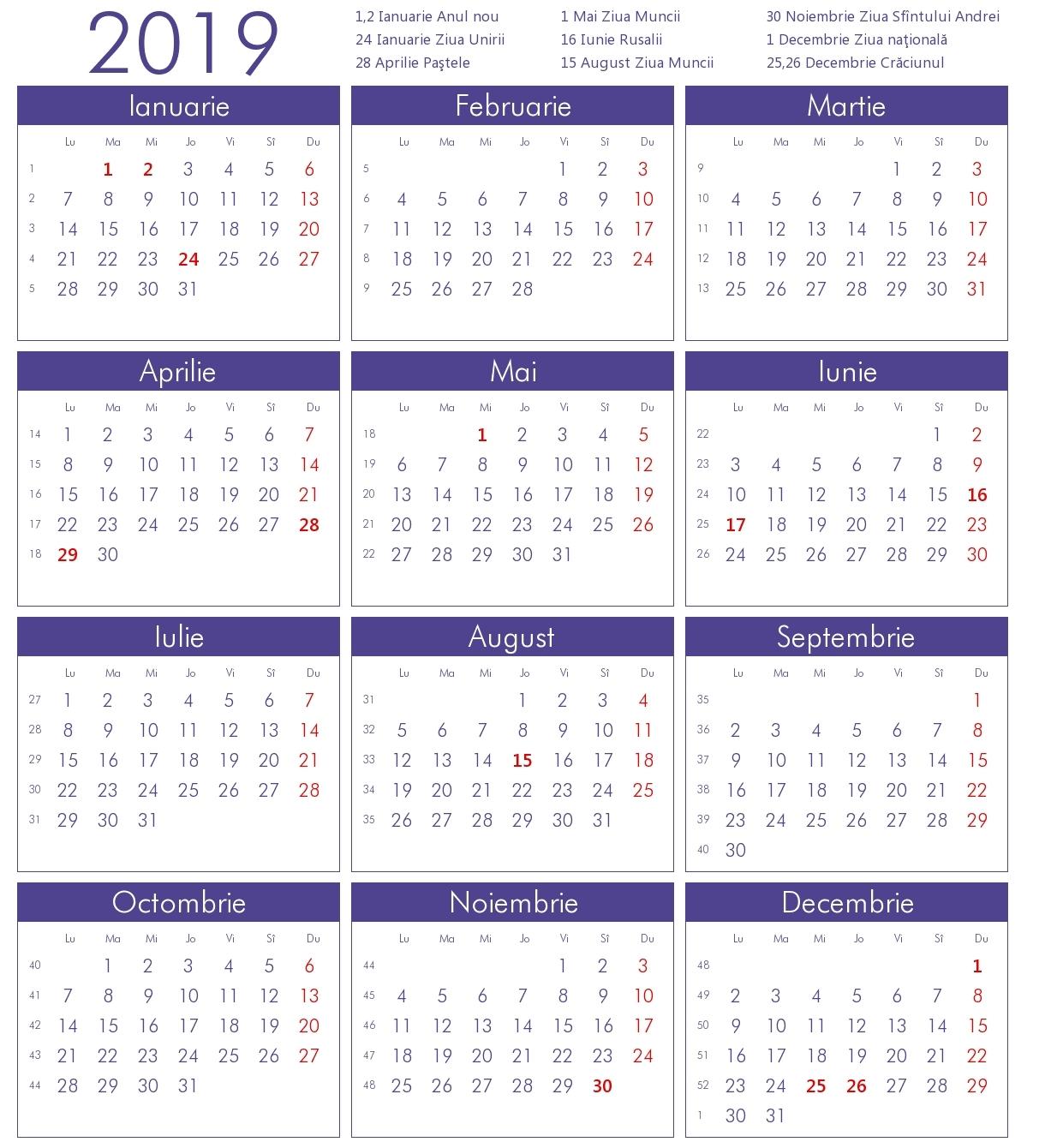 Calendar 2019 Romanesc | Kostilka