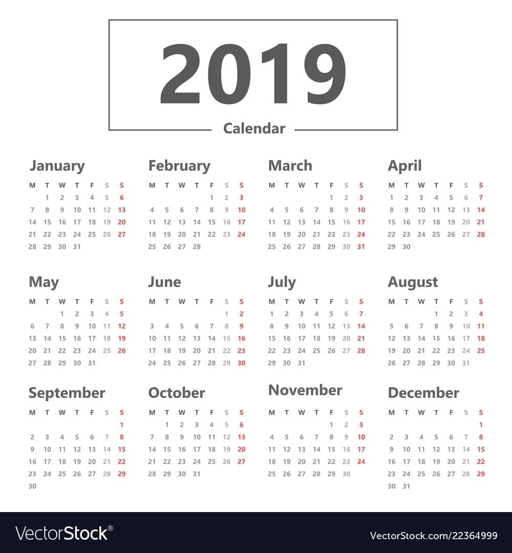 Calendar 2019 Simple Style Week Starts Monday
