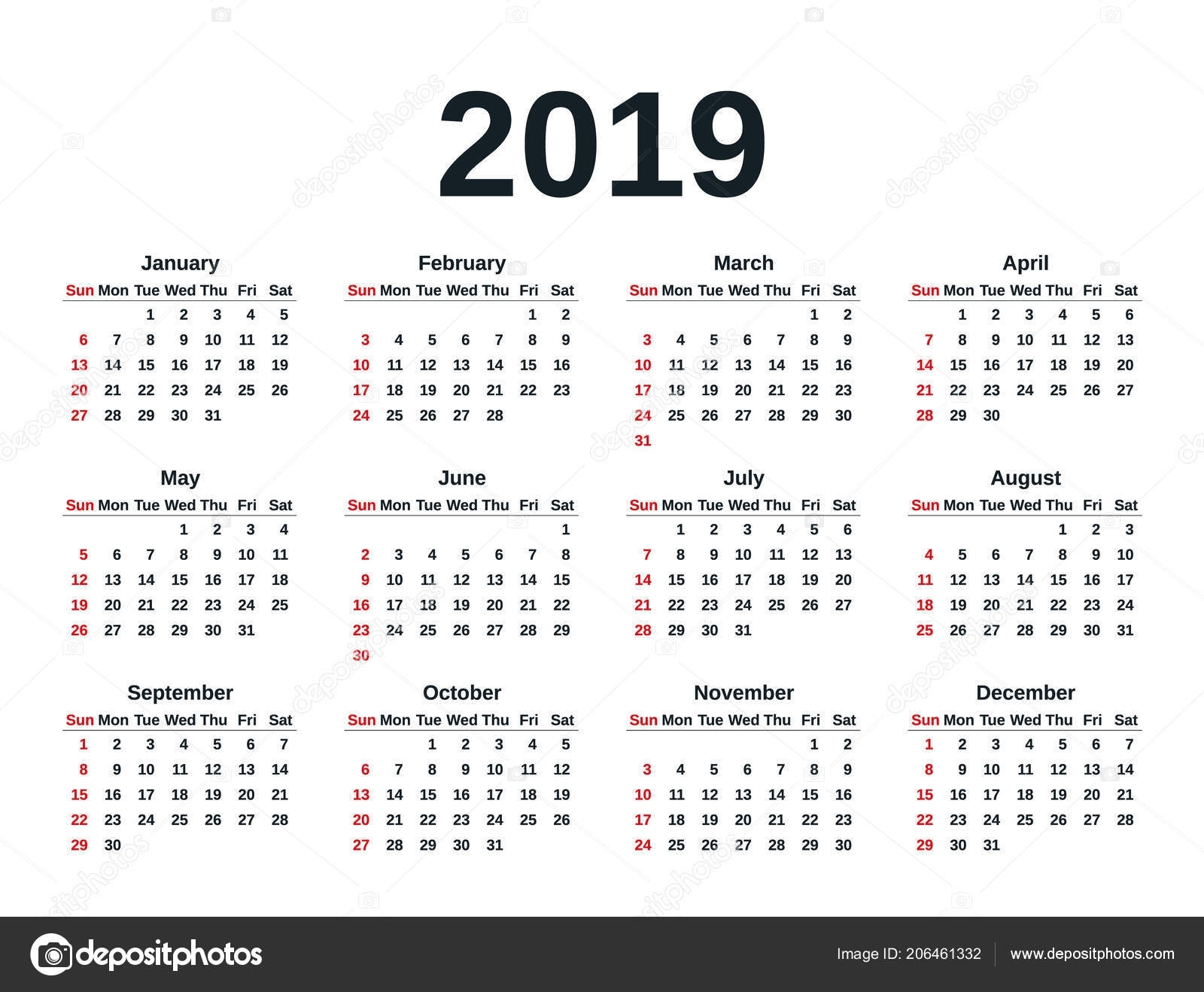 Calendar 2019 Simple Style Week Starts Sunday Vector