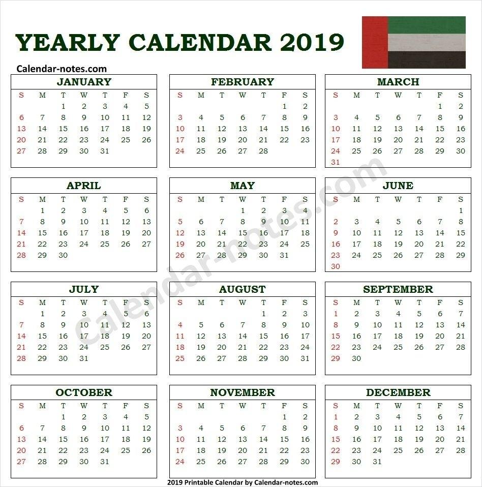 Calendar 2019 Uae With Holidays | Calendar 2019 With
