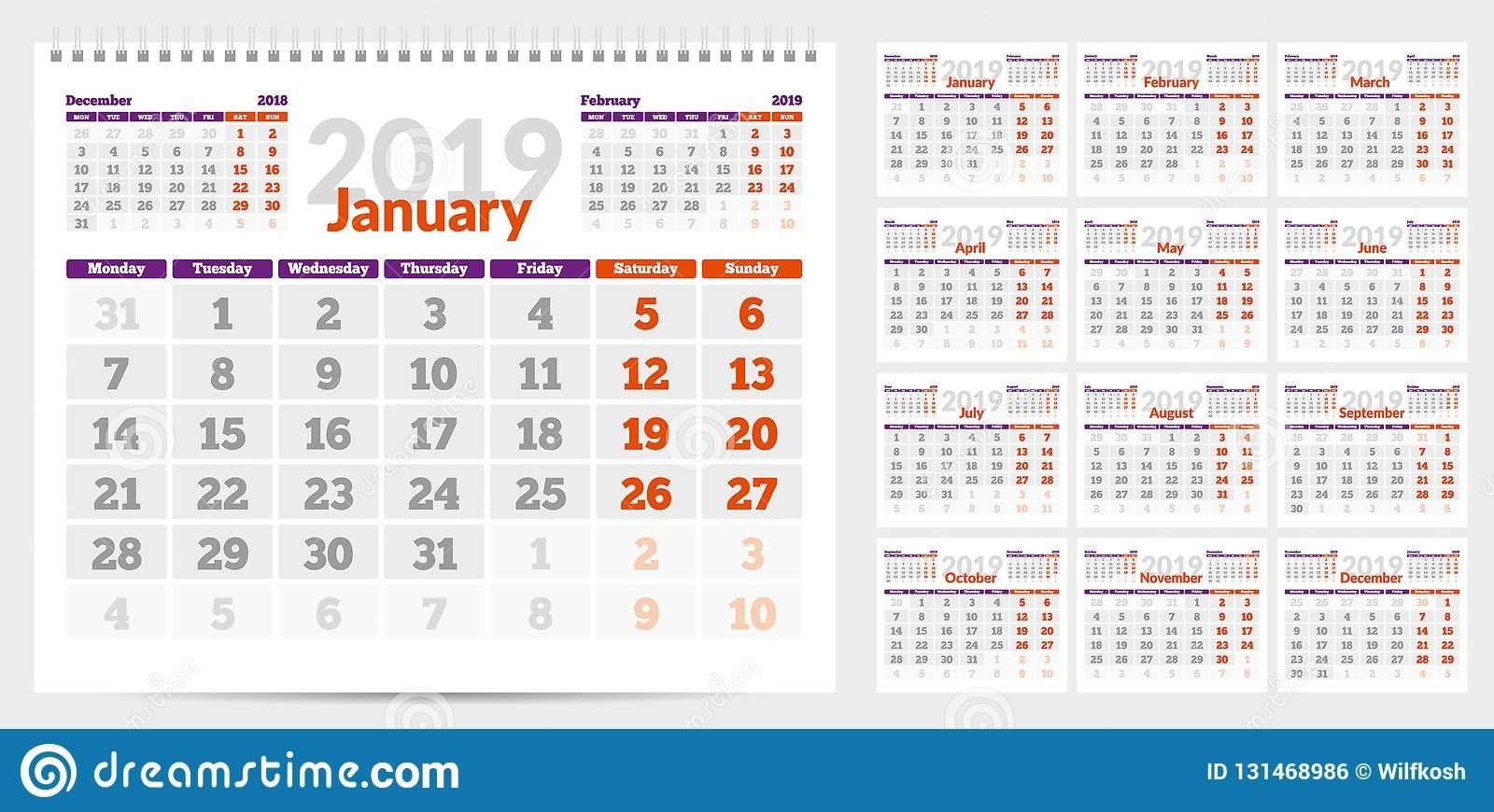 Calendar 2019. Week Start From Monday. Stock Vector