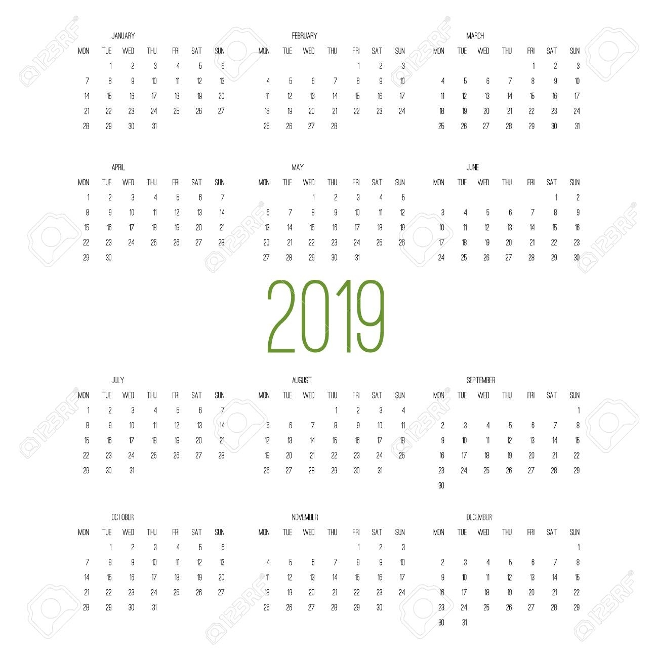 Calendar 2019, Week Starts From Sunday, Business Template Vector..