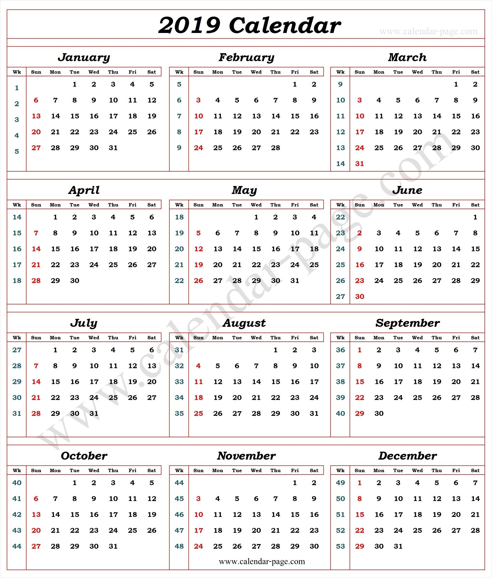 Calendar 2019 With Week Numbers | Calendar With Week Numbers