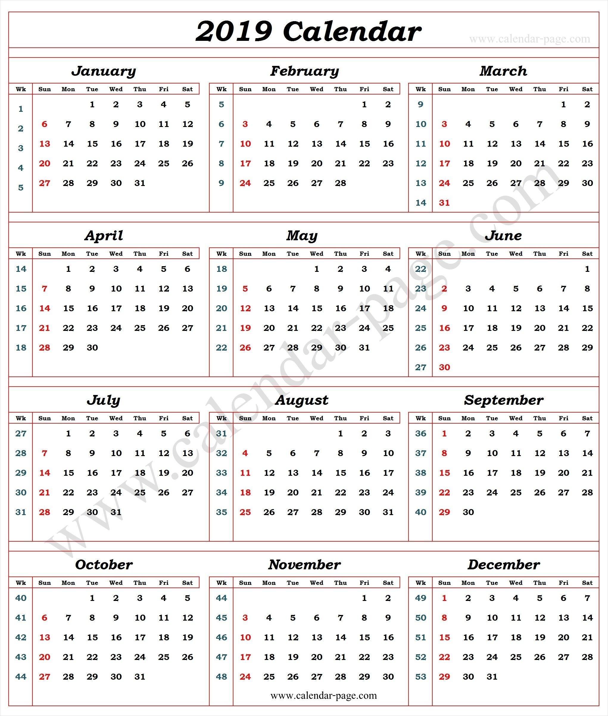 Calendar 2019 With Week Numbers   Calendar With Week Numbers
