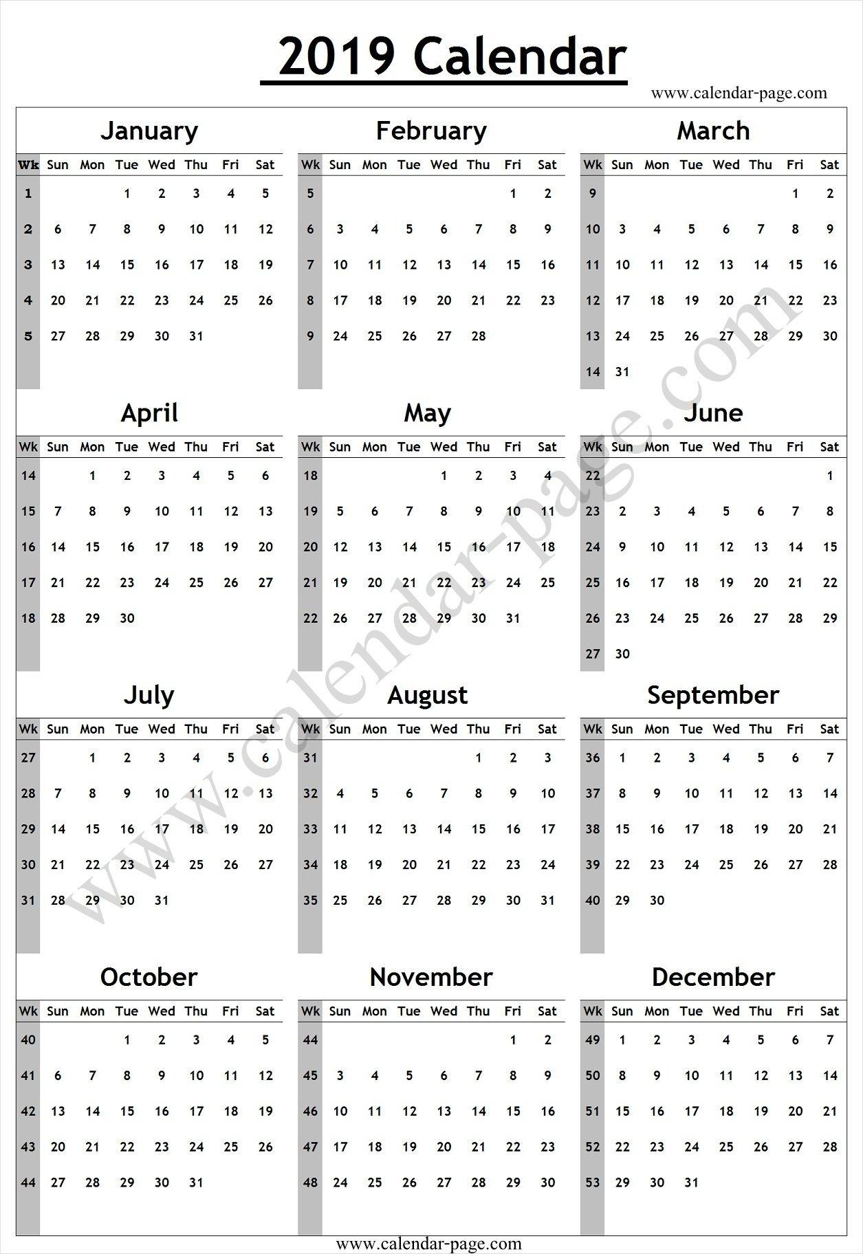 Calendar 2019 With Week Numbers | Week Number, Calendar 2019