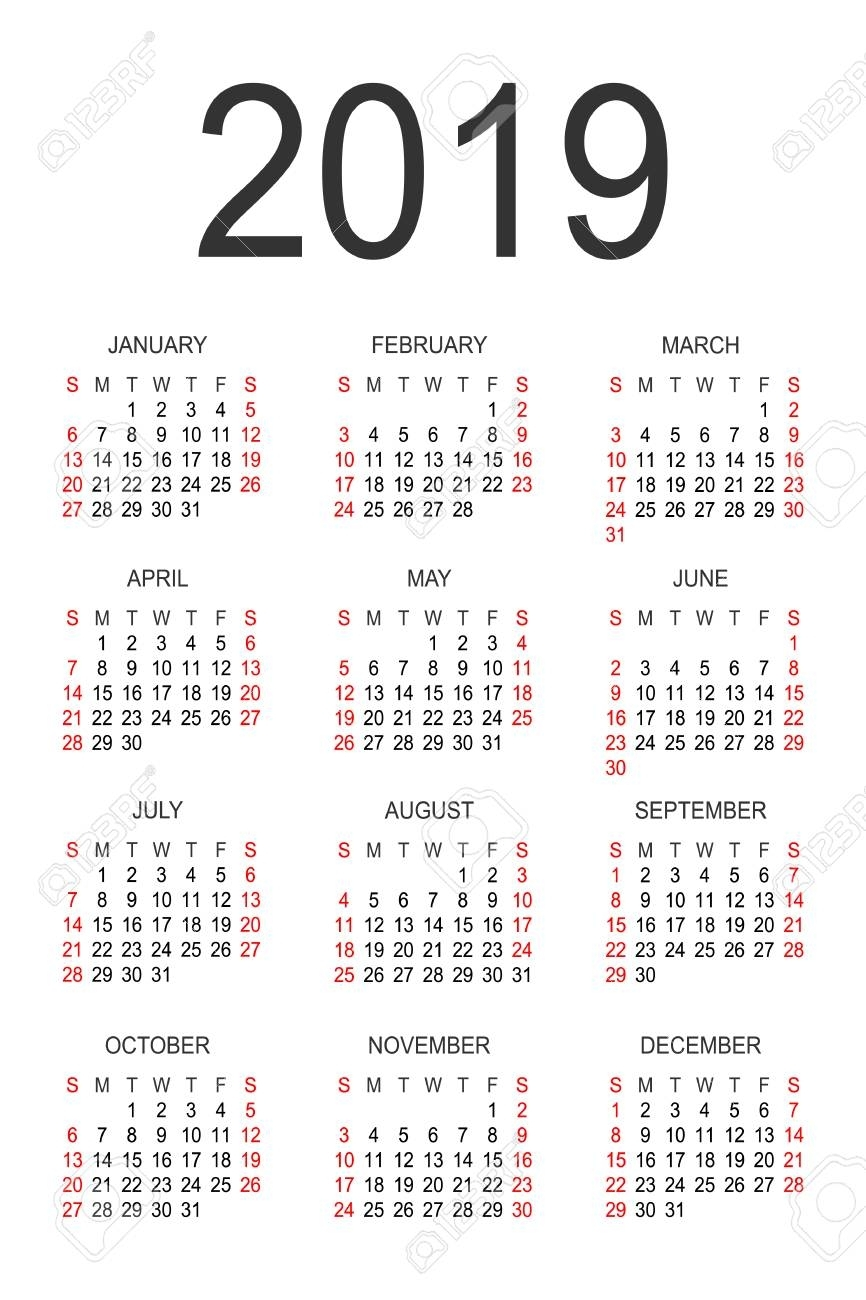 Calendar 2019 Year Vector Design Template. Simple 2019 Year Calendar