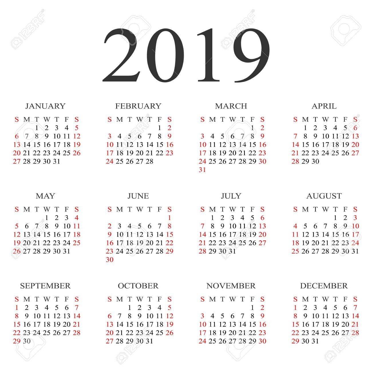 Calendar 2019 Year Vector Design Template. Simple 2019 Year Calendar