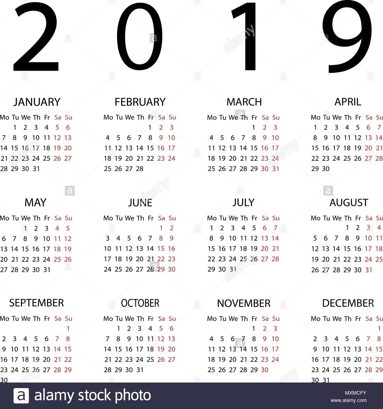 Calendar 2019 Year. Week Starts With Monday Stock Vector Art