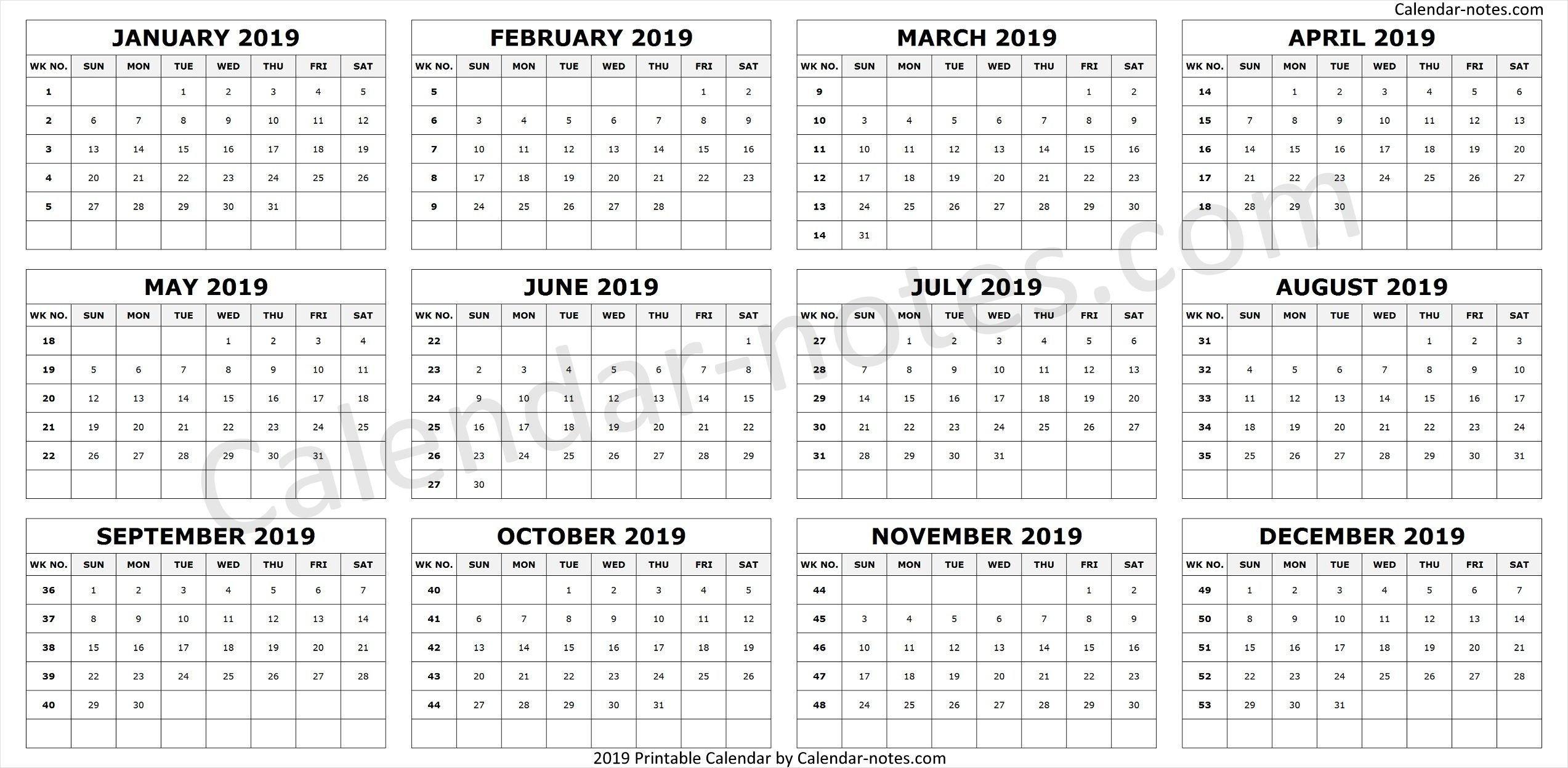Calendar 2019Week Numbers | Calendar 2019 To Print, Week