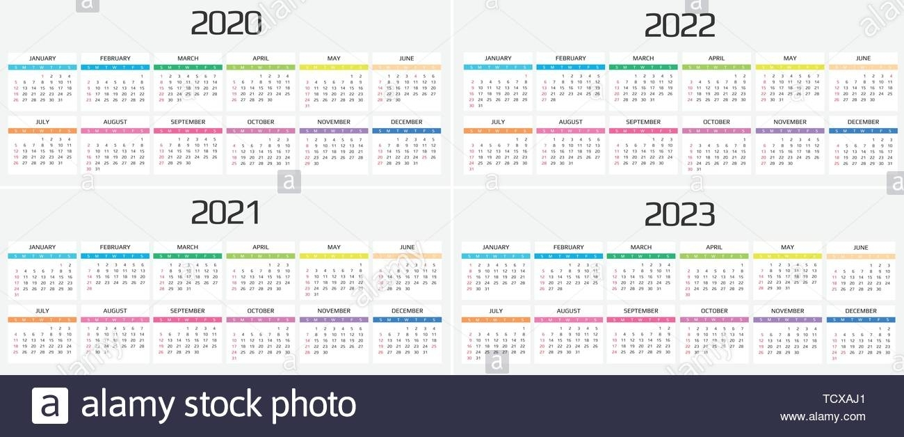Calendar 2020, 2021, 2022, 2023 Template. 12 Months. Include