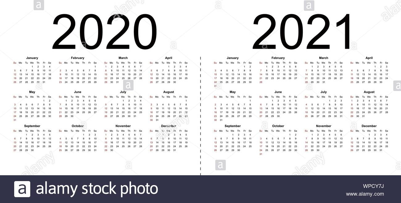 Calendar 2020, 2021. Week Starts From Sunday, Business