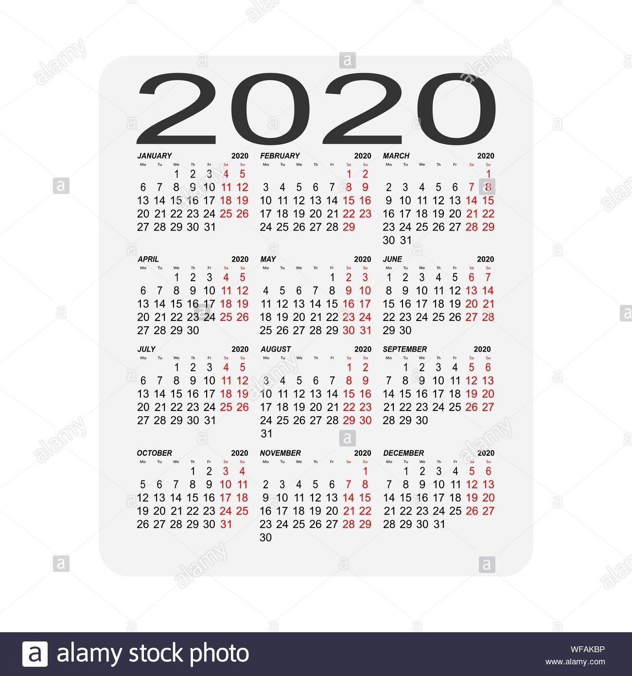 Calendar 2020. Calendar Sheet. Two Days Off A Week Stock
