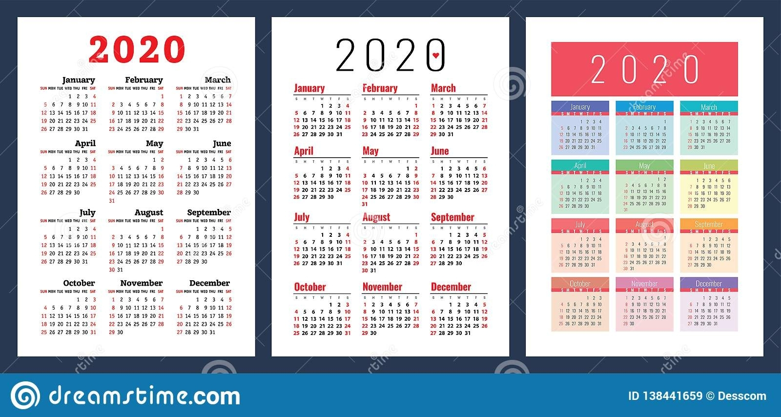 Calendar 2020. Colorful Set. Week Starts On Sunday. Basic