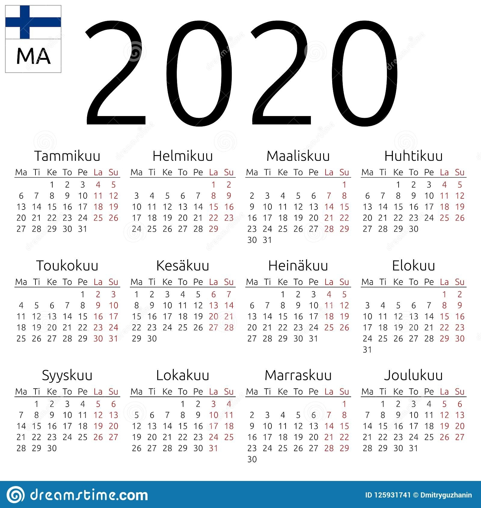 Calendar 2020, Finnish, Monday Stock Vector - Illustration
