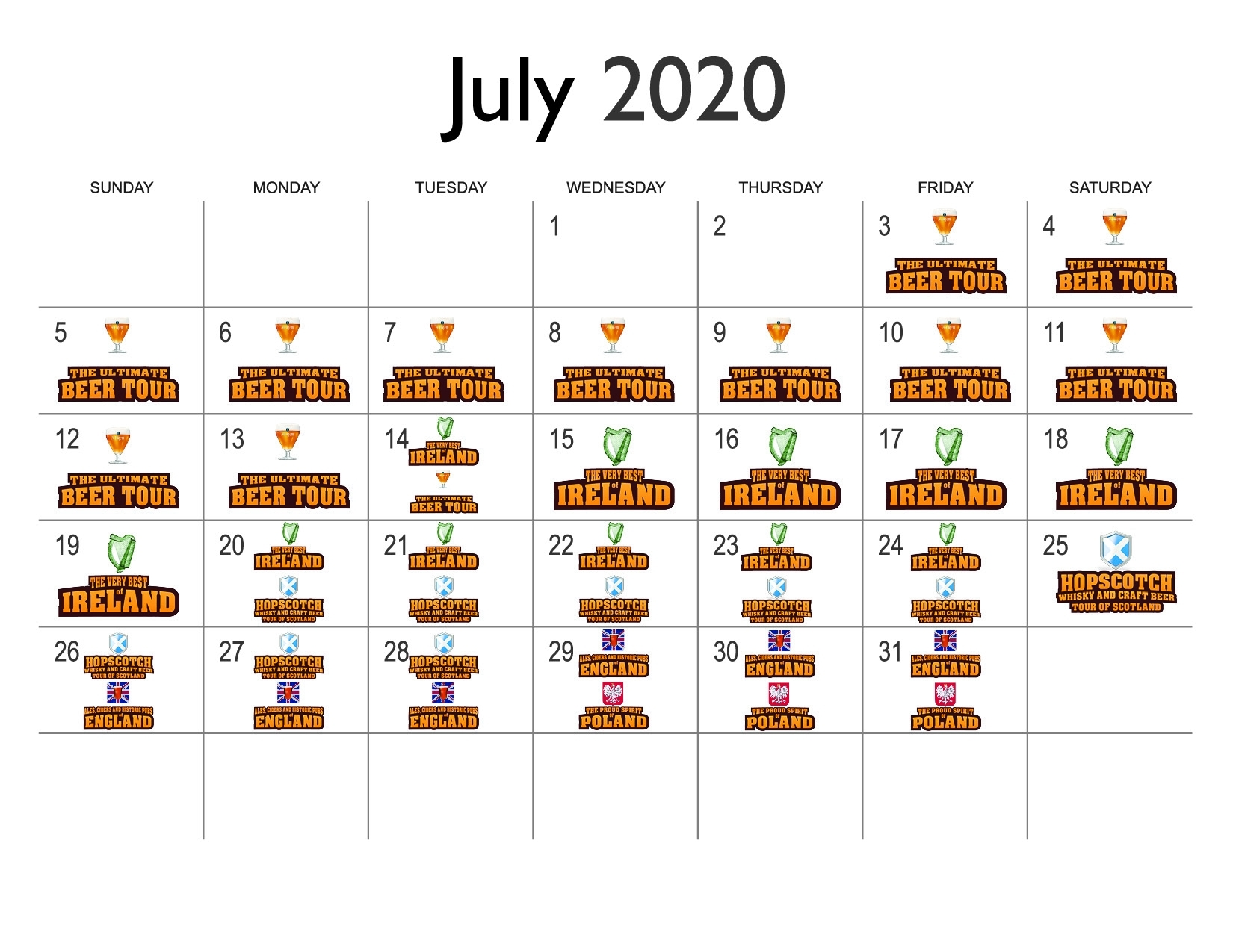 Calendar 2020 For Online Calendar Website Page 1 July