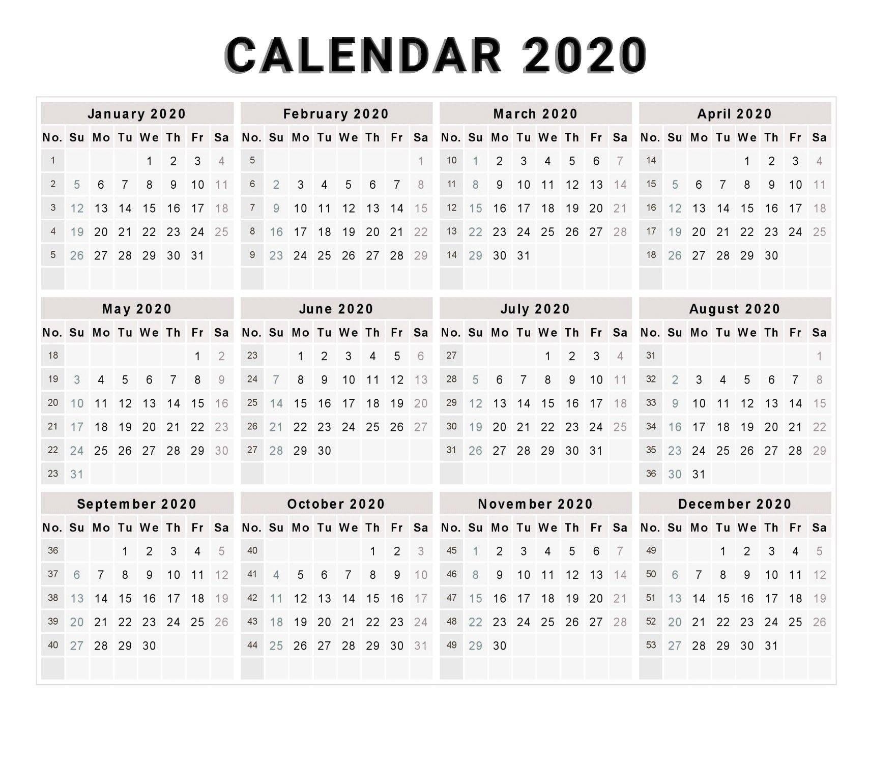 Calendar 2020 Free Printable Calendar 2020 Free 2020