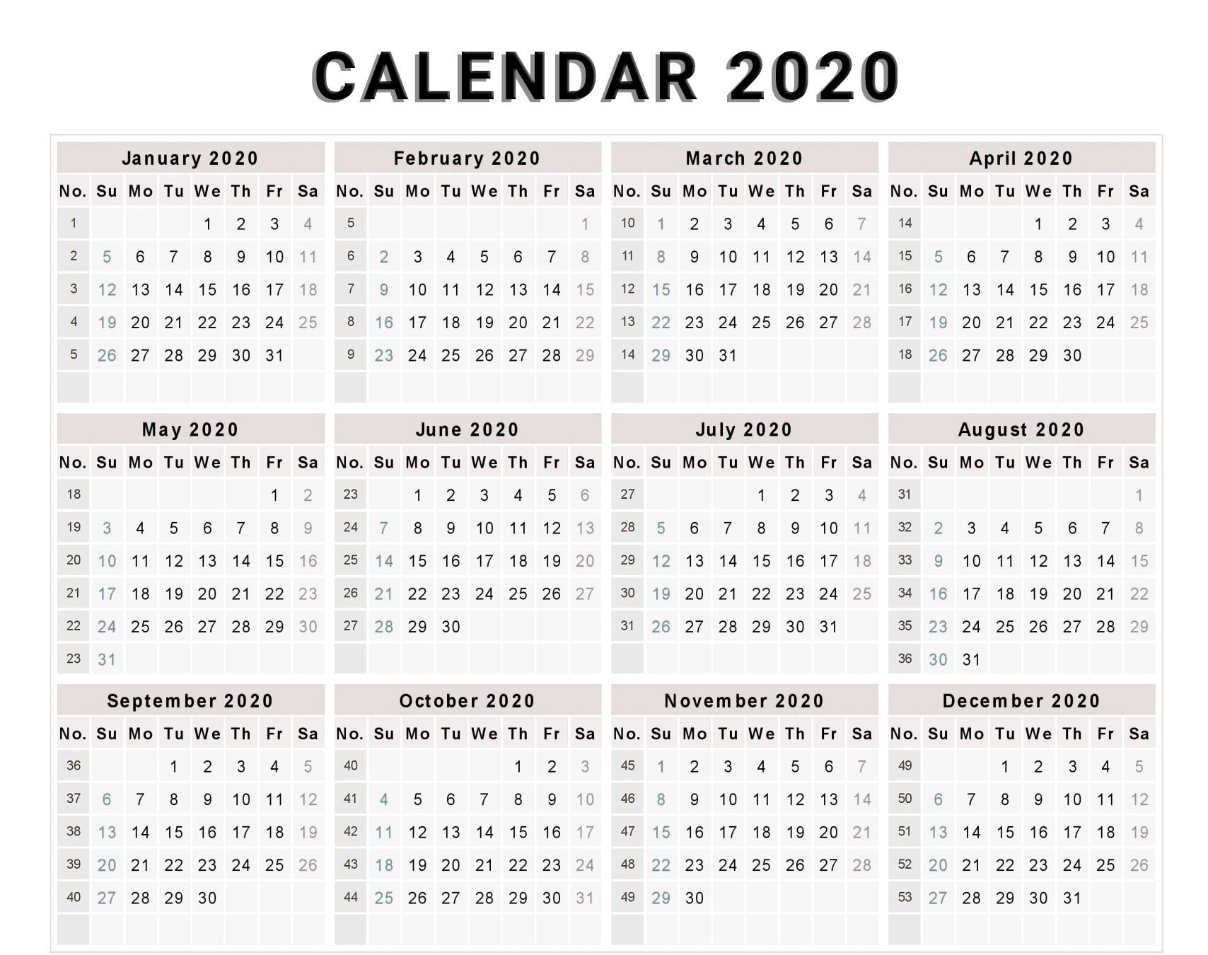 Calendar 2020 Free Template With Weeks | Monthly Calendar