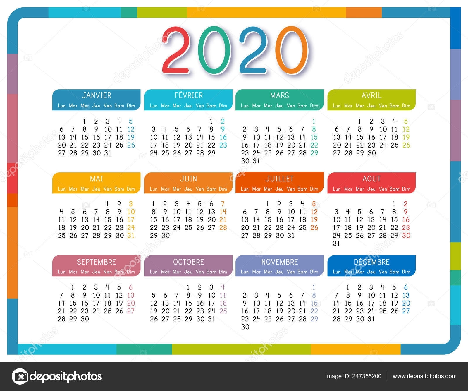 Calendar 2020 French Language White Background Colorful