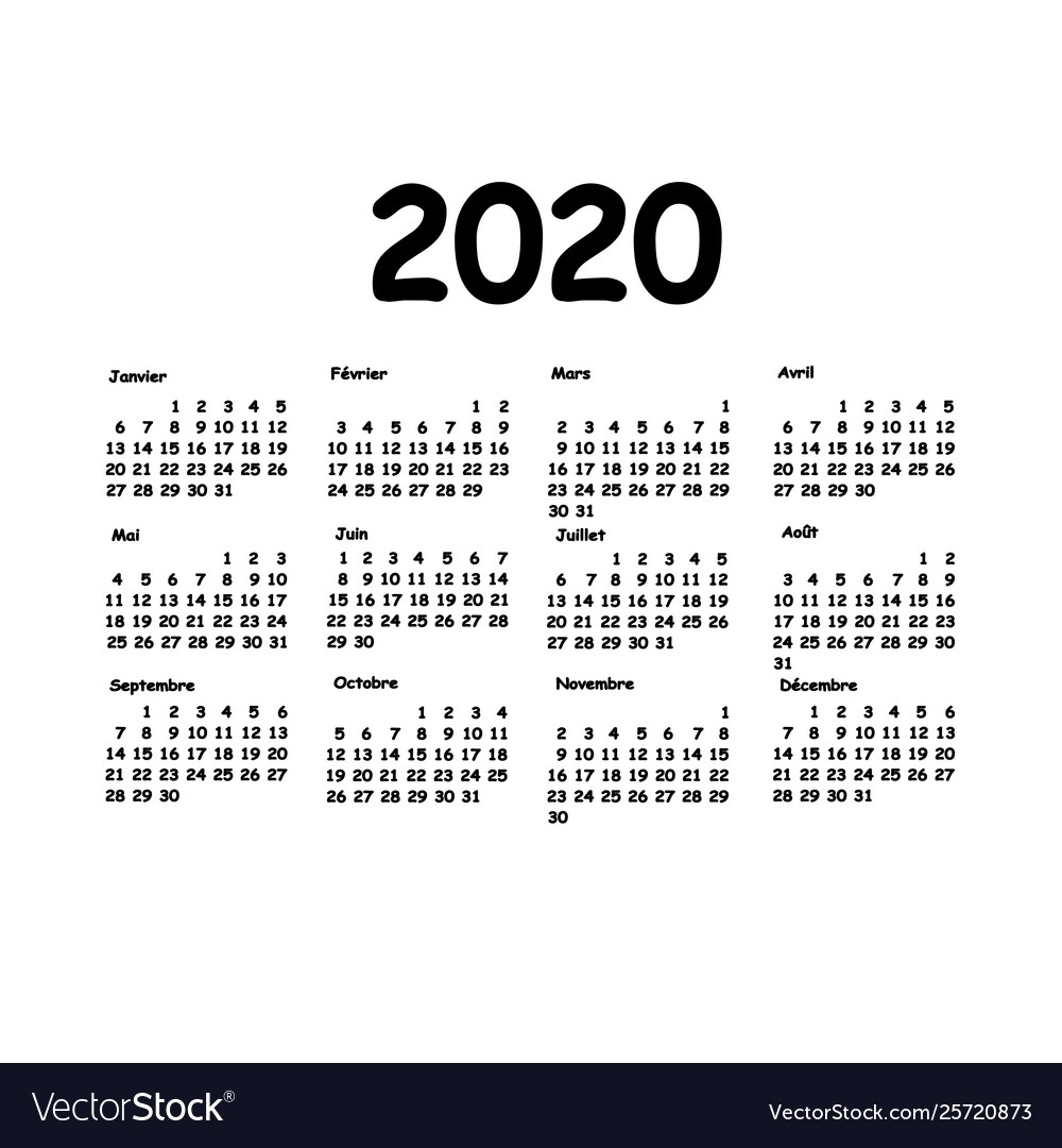 Calendar 2020 Grid French Language Monthly