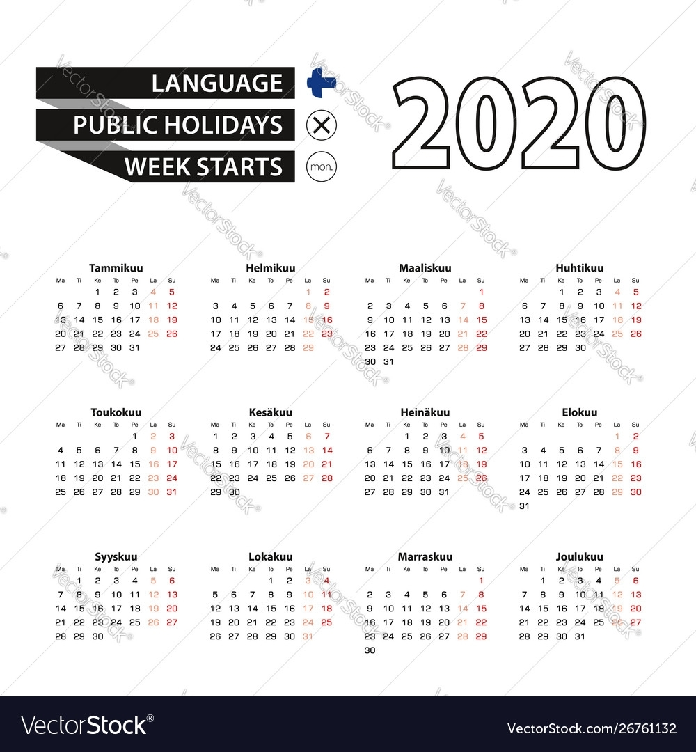 Calendar 2020 In Finnish Language Week Starts On