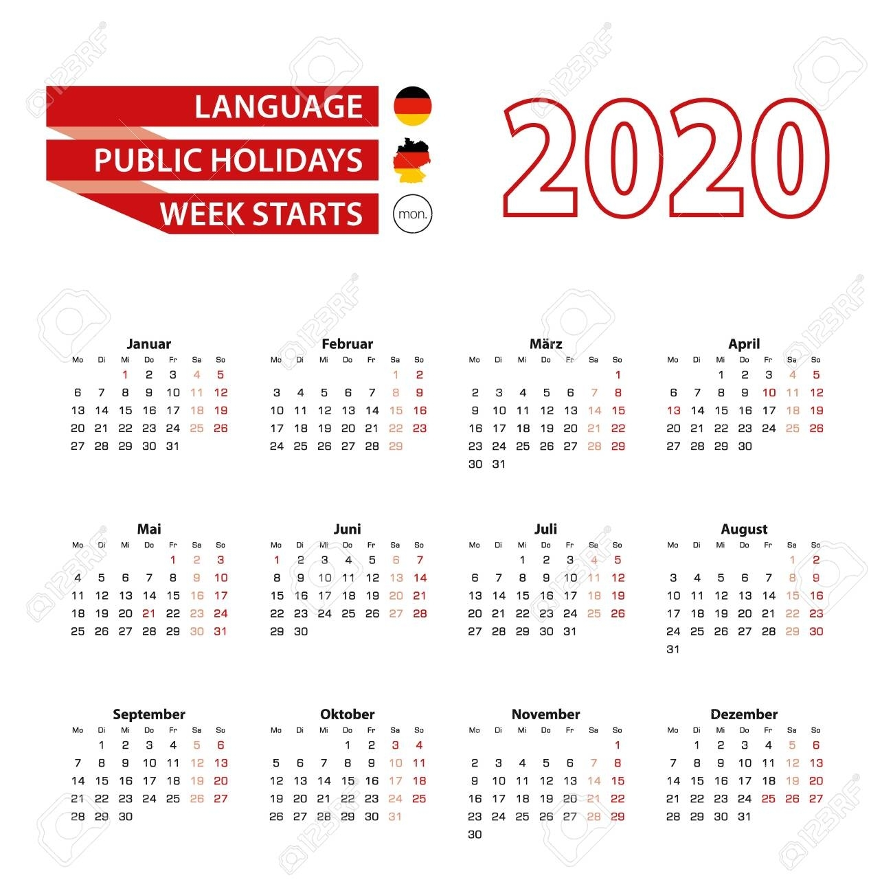 Calendar 2020 In Germany Language With Public Holidays The Country..