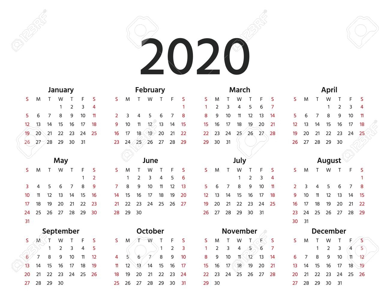 Calendar 2020 In Simple Style. Vector. Stationery 2020 Year Template..